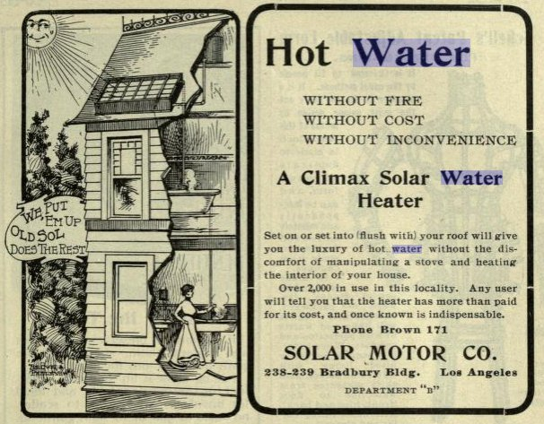 Solar Water Heating System 1902